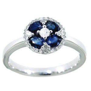 Blue Sapphire Diamond Floral Fine Ring White Gold